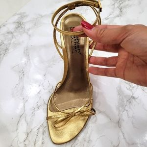 Sergio Zelcer Gold Ankle Strap Stiletto Sandals